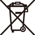 Crossed out wheelie bin logo