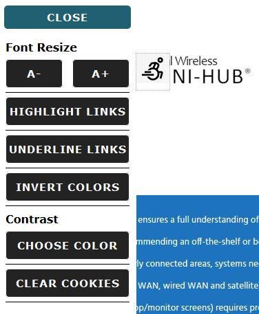 The accessibility pop out menu for our site.